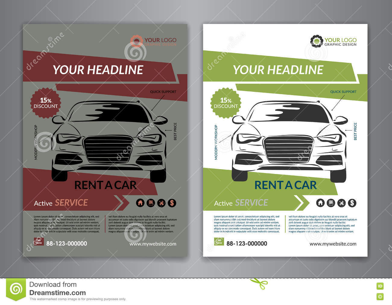 set a5  a4 rent a car business flyer template  auto