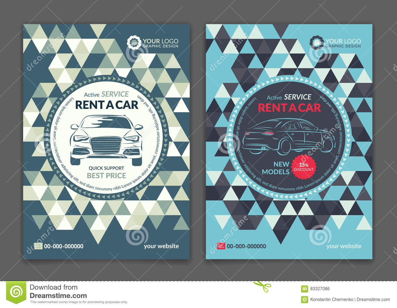Set A5 A4 Rent A Car Business Flyer Template Auto Service Brochure