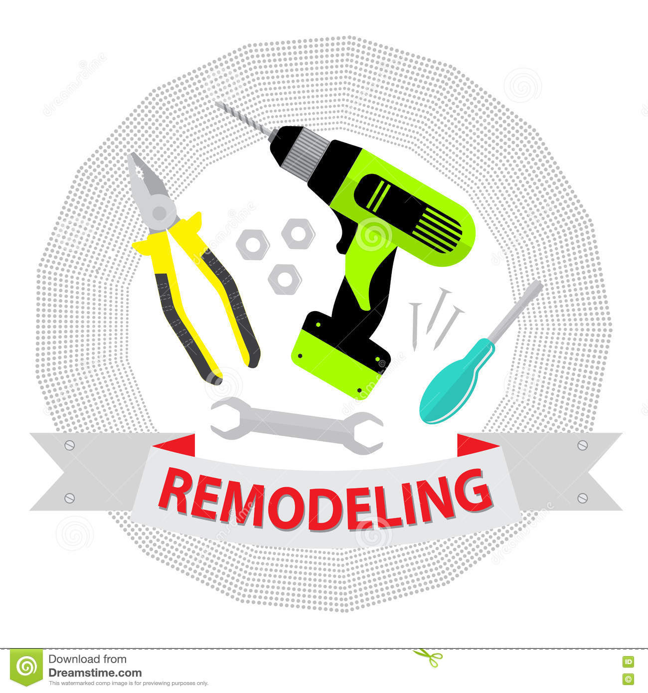 Home remodeling logo remodeling logo clipart - Set Of Repair Tools On White Background Logo Home Repair Service Royalty Free Stock