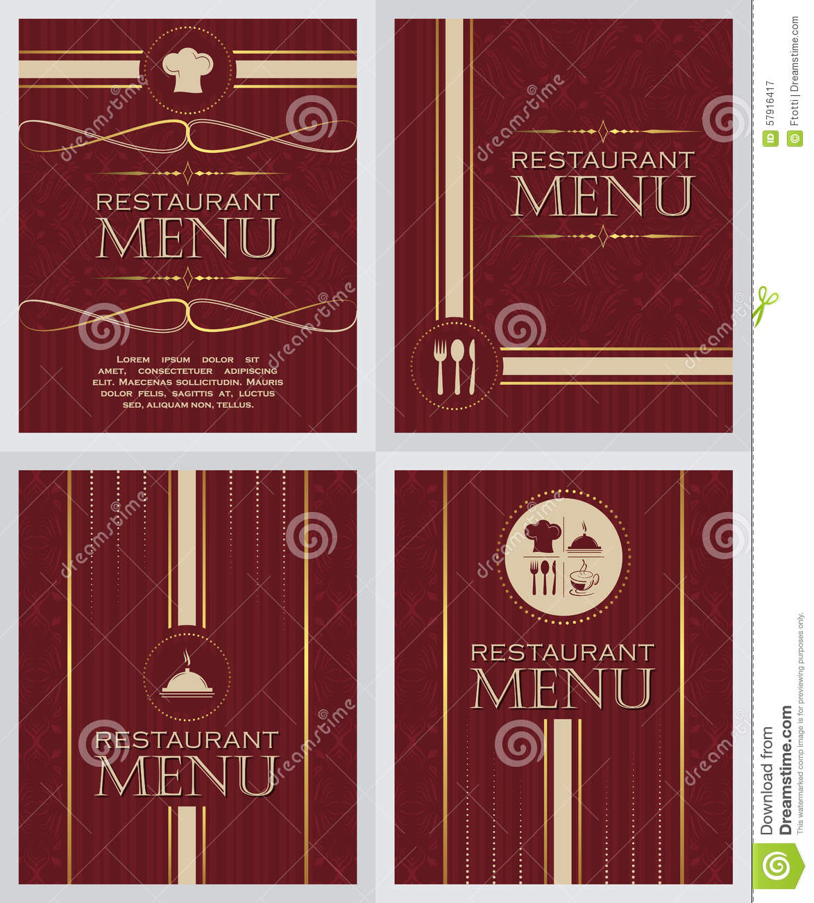 Set of restaurant menu design cover template in retro