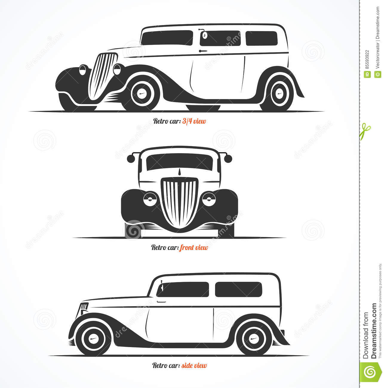 Set Of Retro Car Silhouettes Vintage Or Classic Car Illustrations