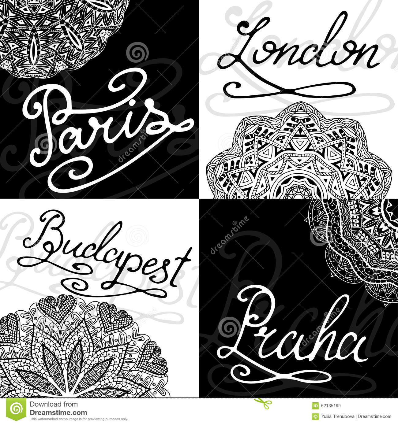 Set Of Retro Cards Calligraphy City Names Hand Lettering