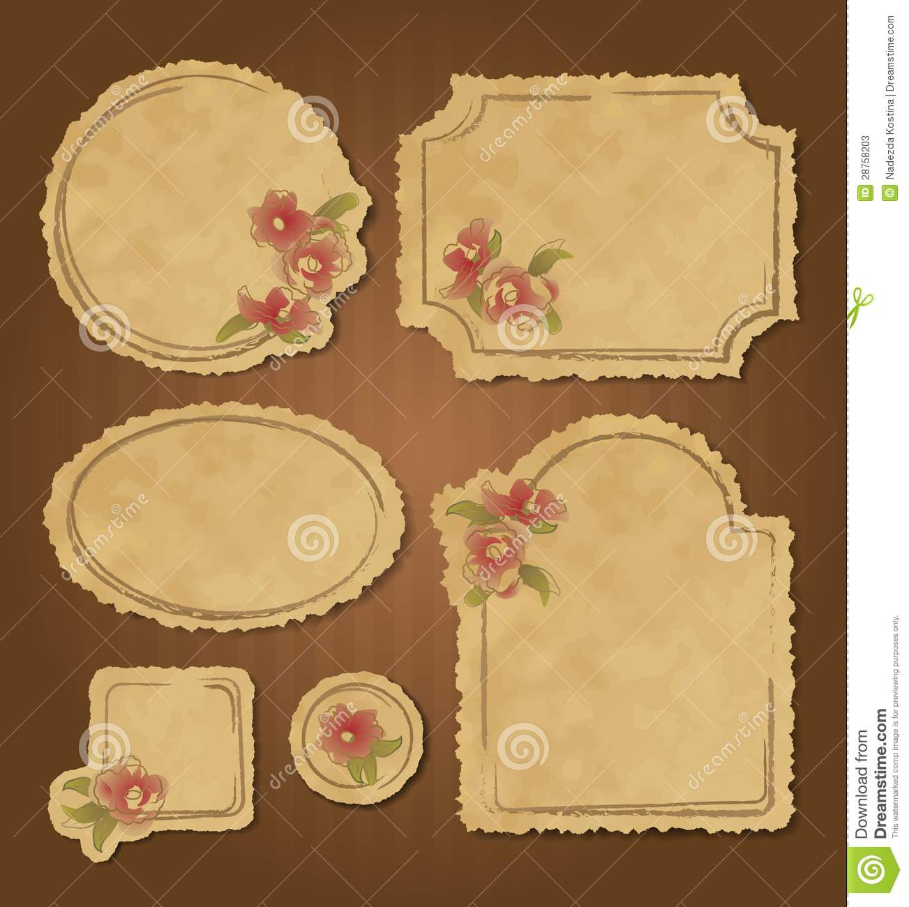 Set Of Retro Floral Vintage Frames And Labels Stock Photos