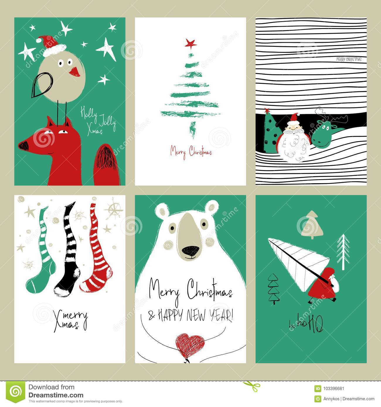 Set Of Retro Funny Christmas Cards. Stock Vector - Illustration of ...