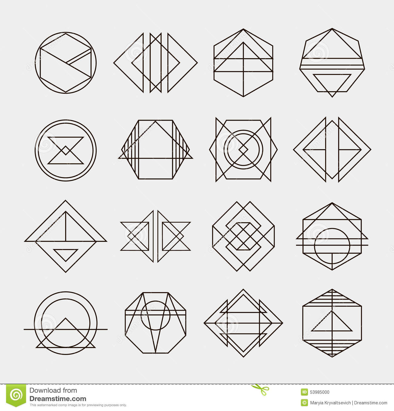 Set Of Retro Line Abstract Hipster Monochrome Stock Vector ...