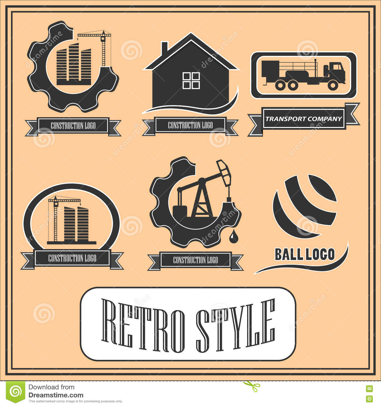 Set Of Retro Logos For Industrial And Construction Companies
