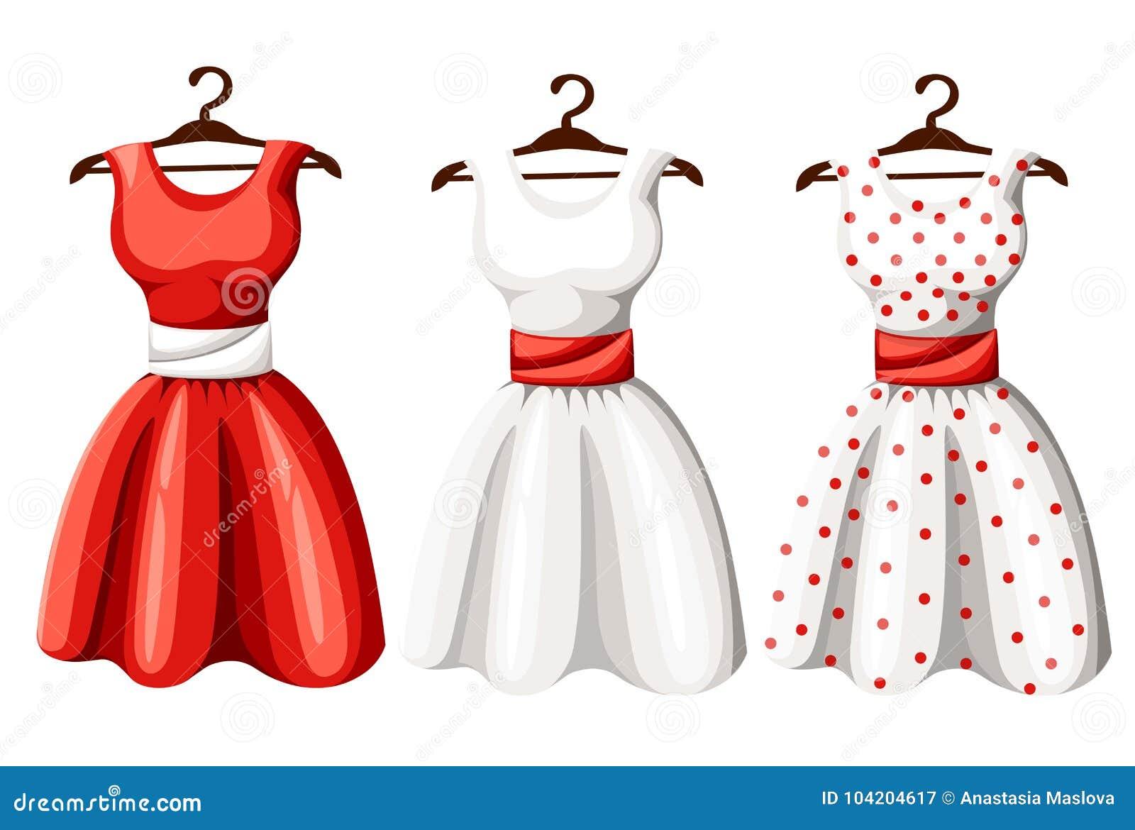 Set Of Retro Pinup Cute Woman Dresses. Short And Long Elegant Black ...