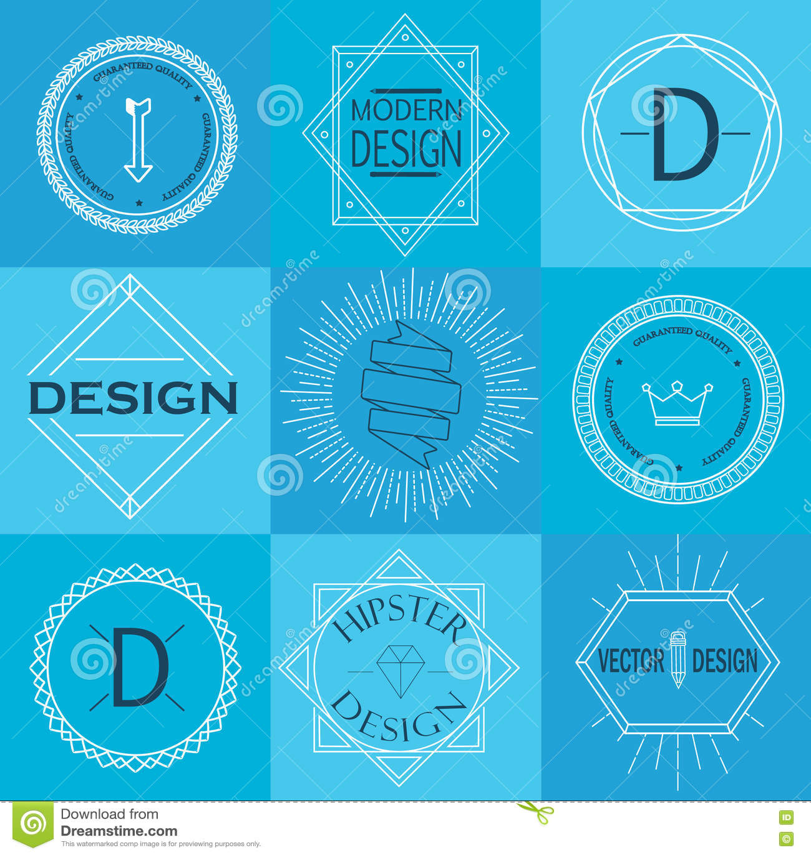Set Retro rocznik insygnie, logotypy i