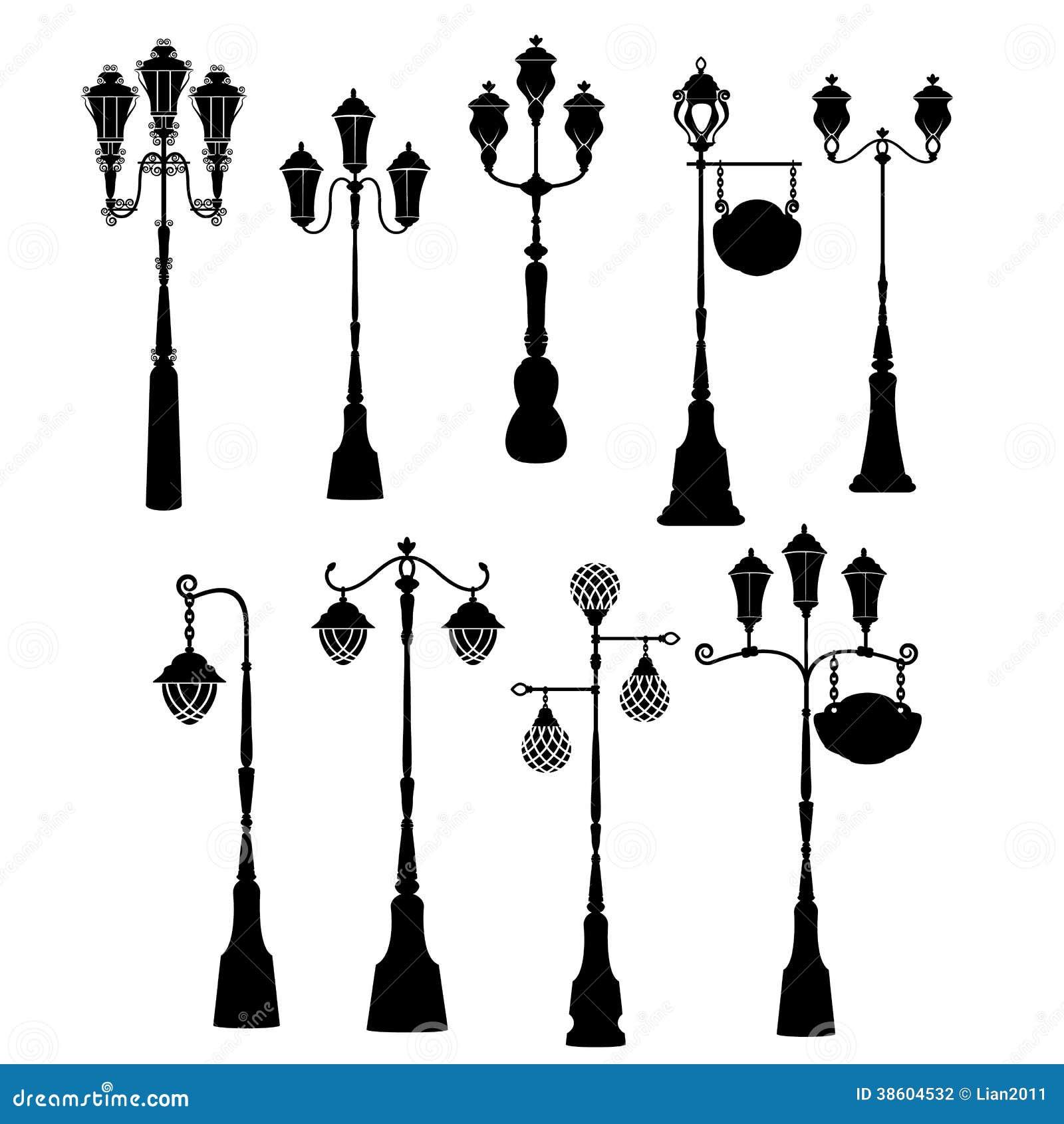 Set of retro street lanterns silhouettes editorial photography