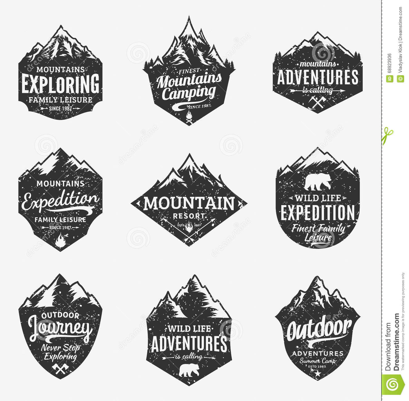 Set Of Retro Styled Vector Mountain And Outdoor Adventures