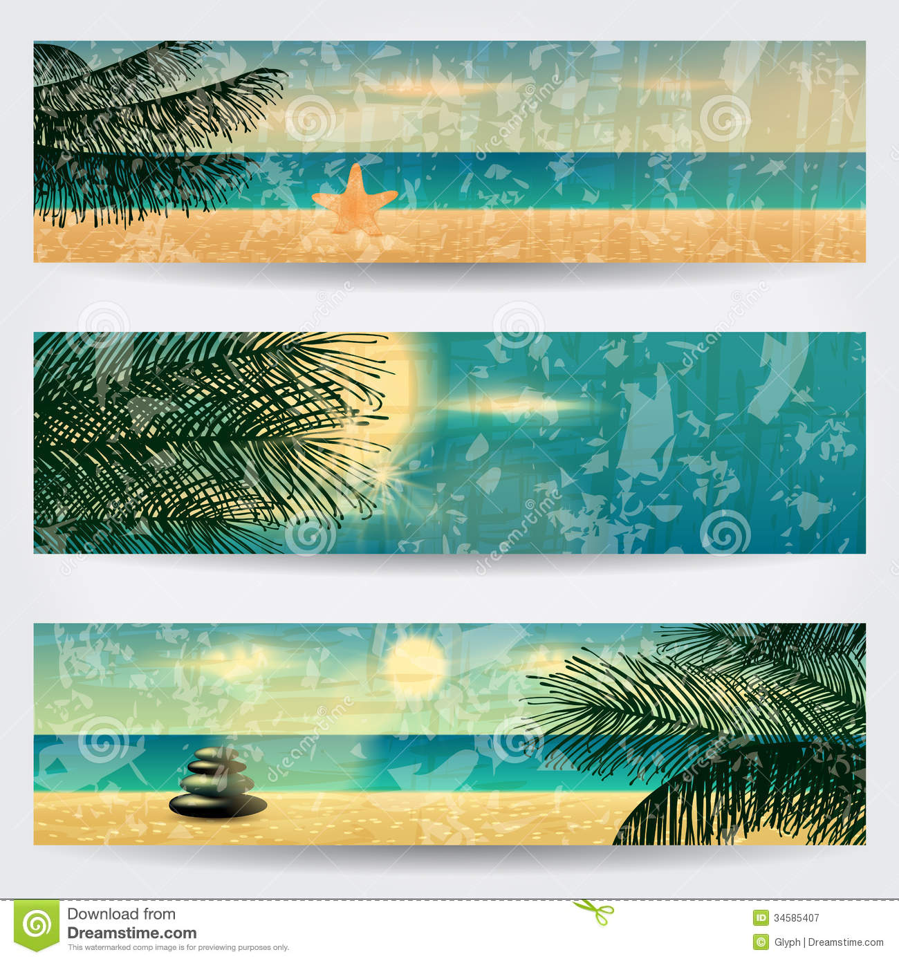 Beautiful Vintage Summer Seaside Illustration Royalty Free: Set Of Retro Summer Web Banners Royalty Free Stock