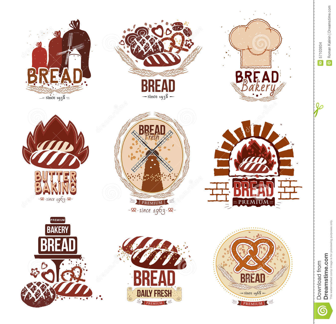 Oven Baking Element >> Set Of Retro Vector Bakery Logos And Bread. Stock Vector - Image: 57103934