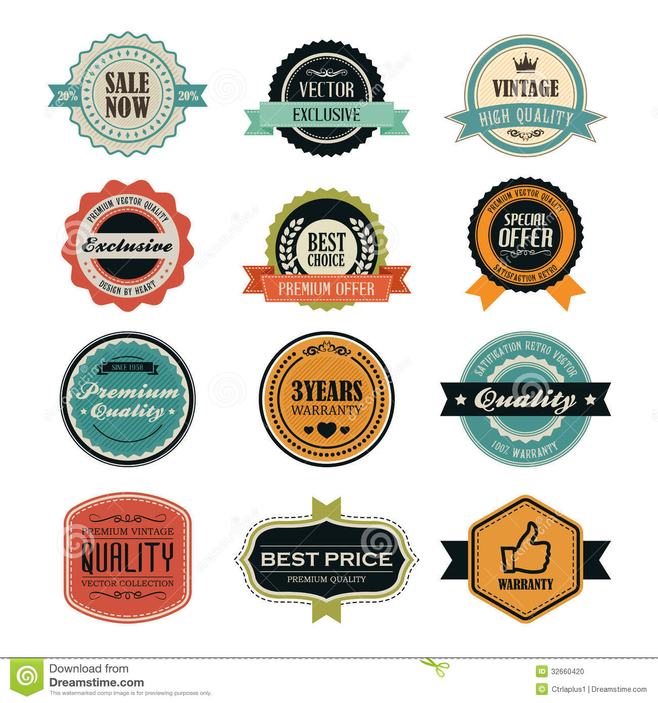 Classic Retro Illustration: Set Of Retro Vintage Badges And Labels Stock Photo
