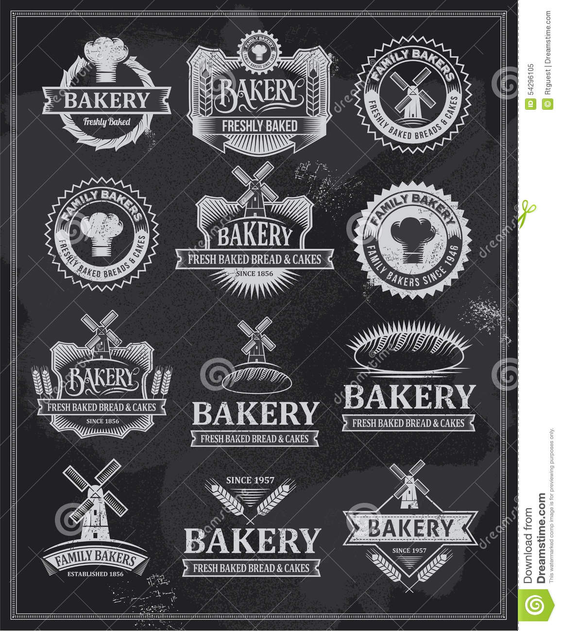 Home Design Ideas Blackboard: Set Of Retro Vintage Bakery Labels And Ribbons Stock