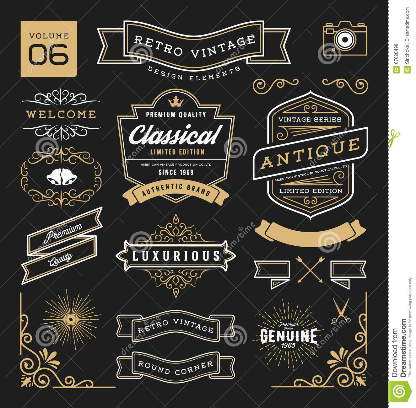... , crowns, corner, flourishes line and ornaments. Vector illustration