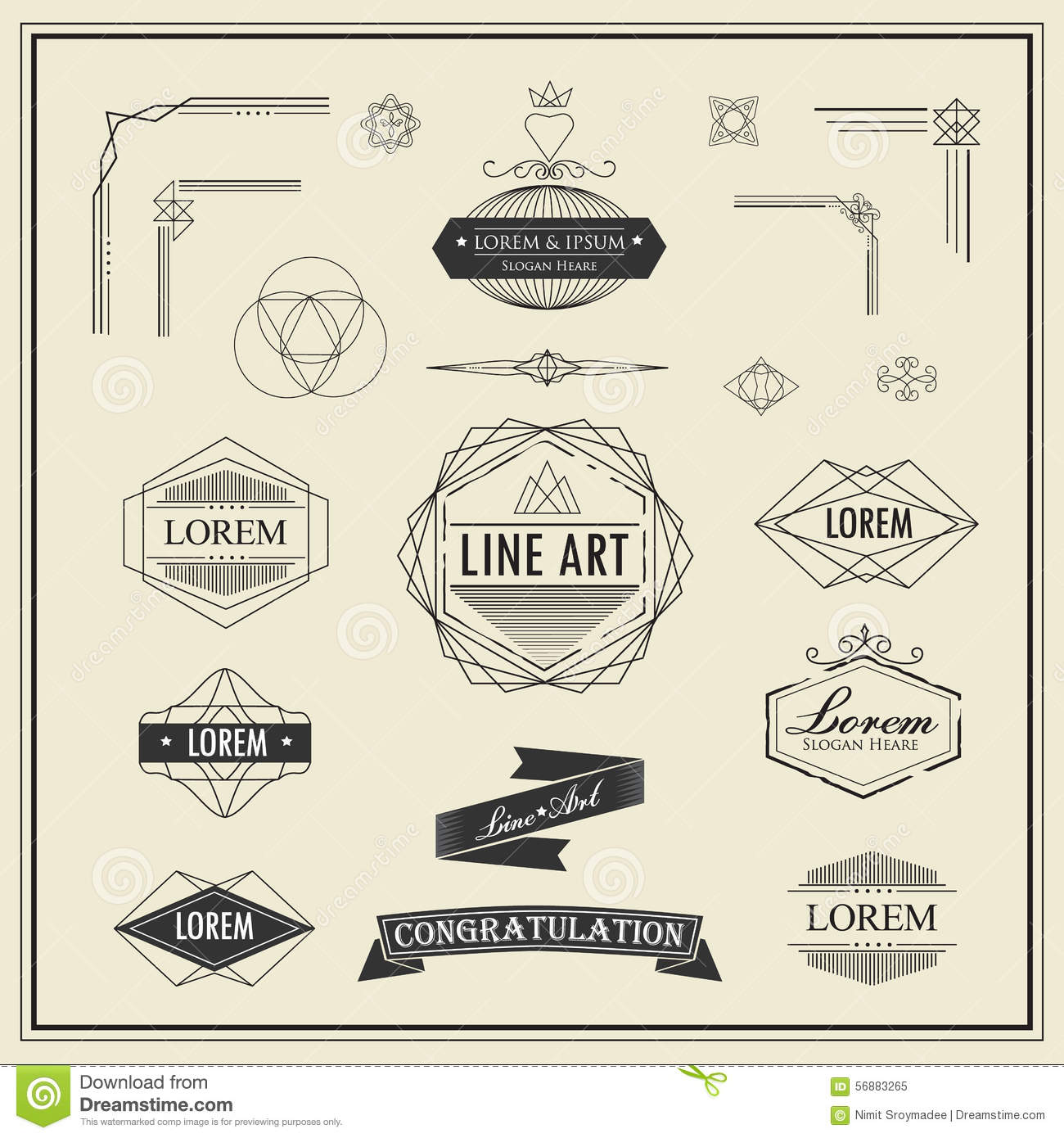 Line Art Corner Design : Set of retro vintage linear thin line art deco design