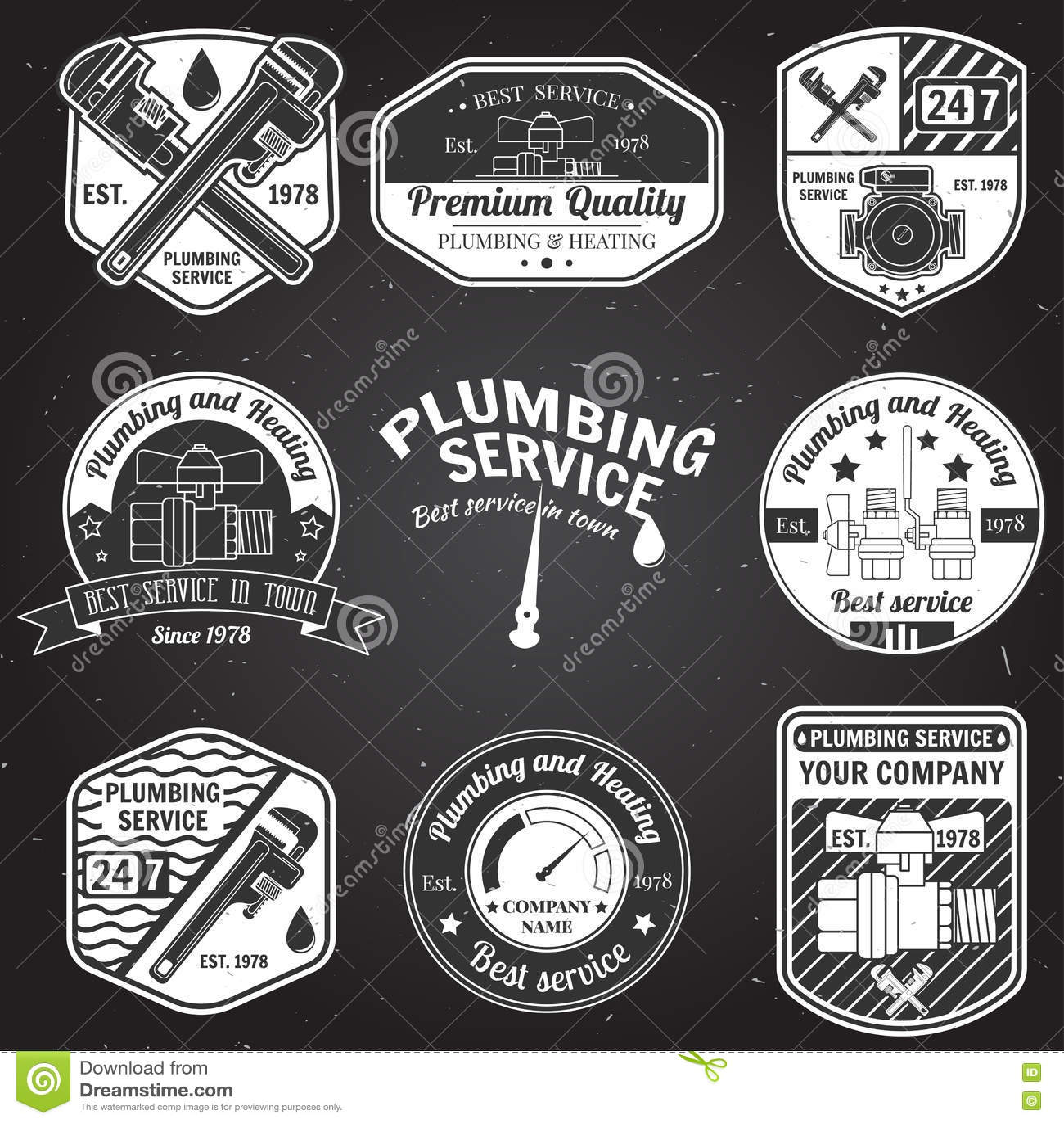 Set Of Retro Vintage Plumbing Service Badges. Stock Vector ...
