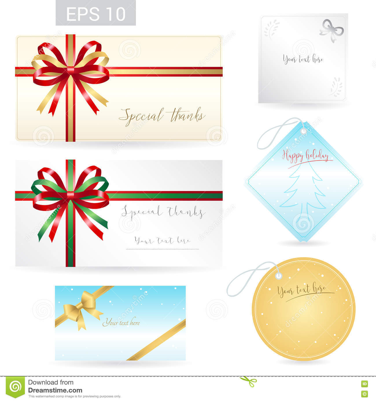 Set of ribbon tied bows in vector format for gift card, greeting