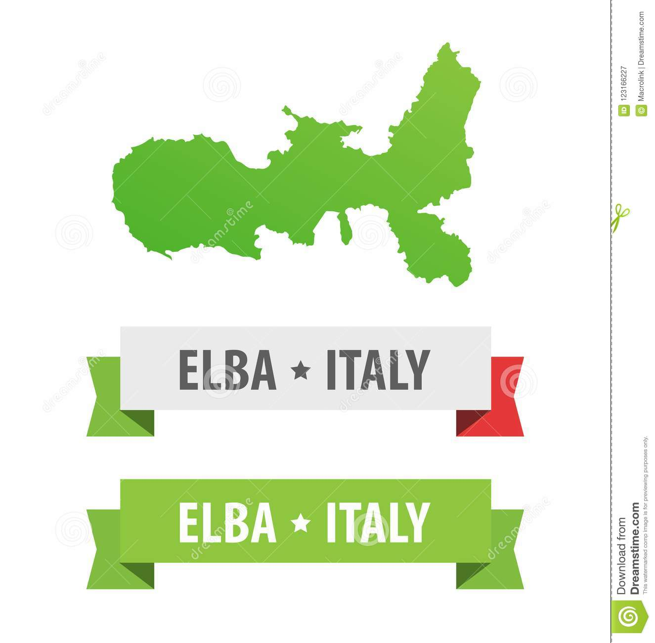 Islands Of Italy Map.Set Of Ribbons With Elba Italy Caption And Map Of Elba Island In