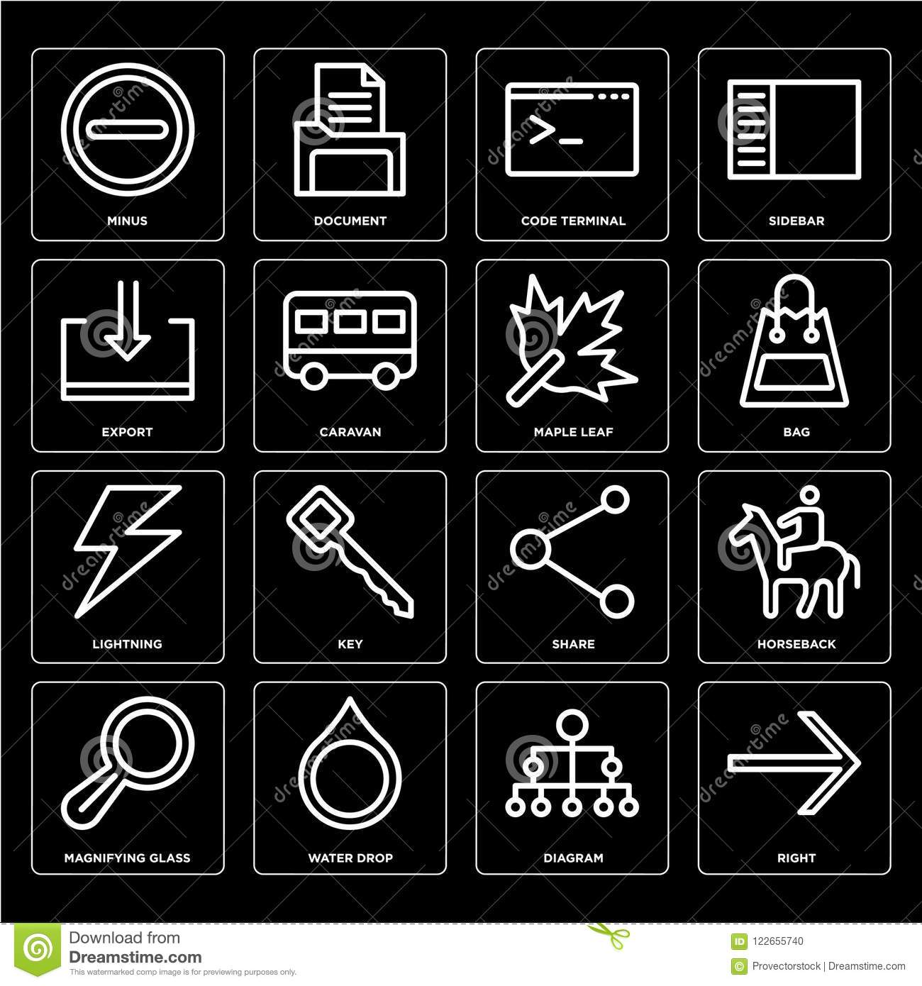 Set Of Right, Diagram, Magnifying Glass, Share, Lightning