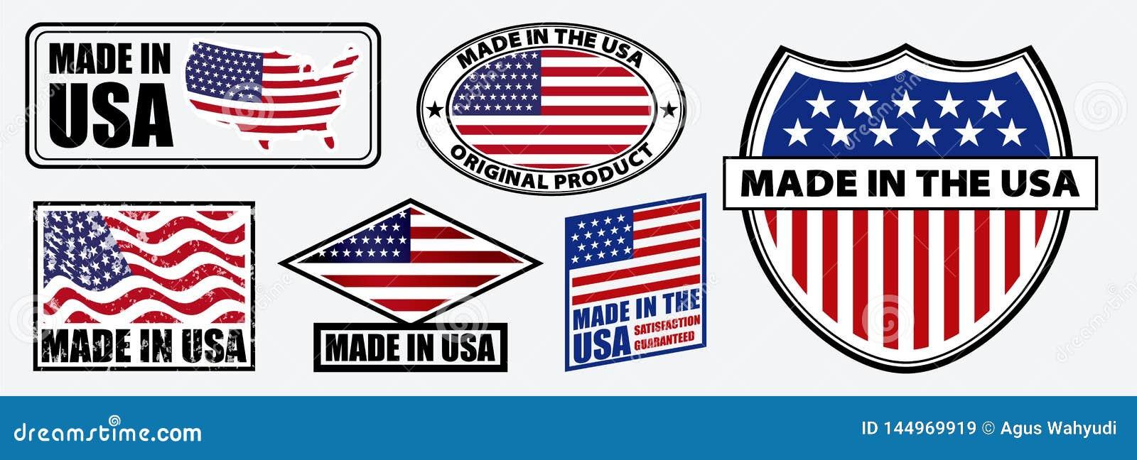 Set robić w usa etykietce dla detalicznych produktu lub tkaniny rzeczy