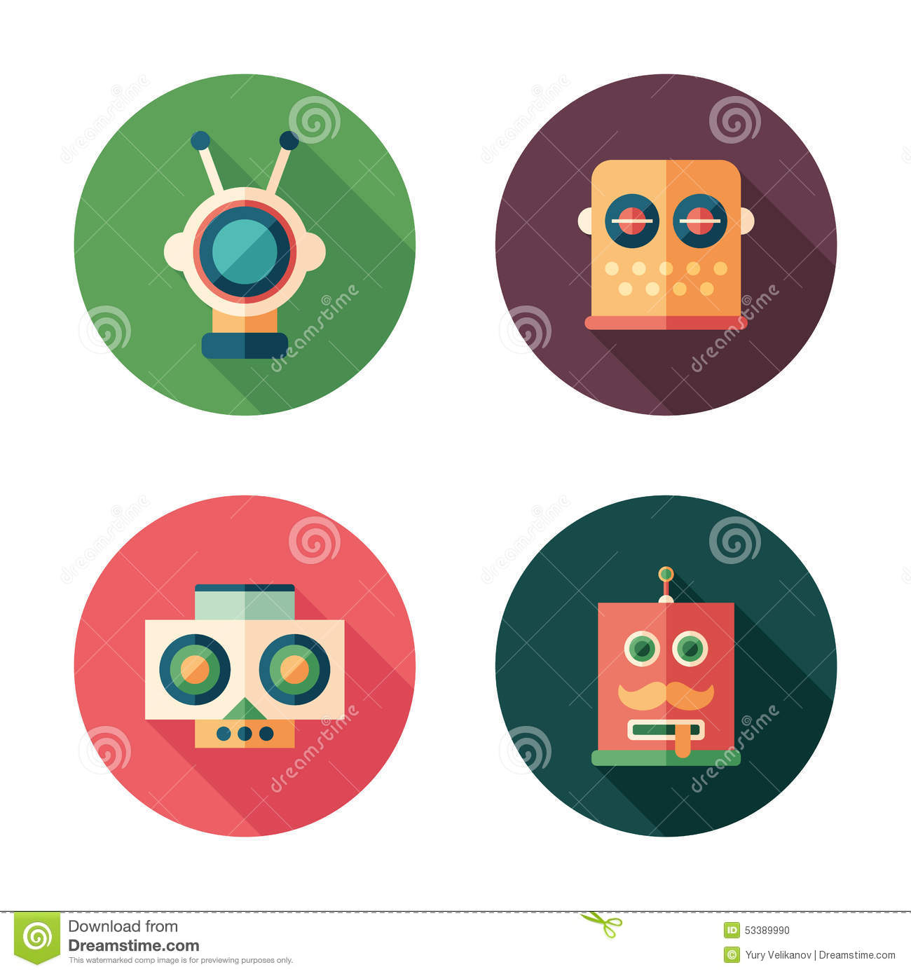 Set of robot heads flat round icons with long shadows.