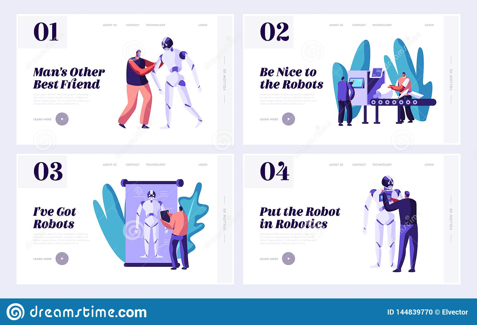 Set of Robotics Website Landing Page Template, Stages of Robots Creation. Engineering Robotics Process in Science Laboratory