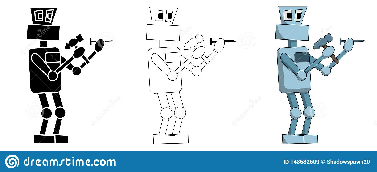 Set of robots hammer nails at work. Isolated illustration