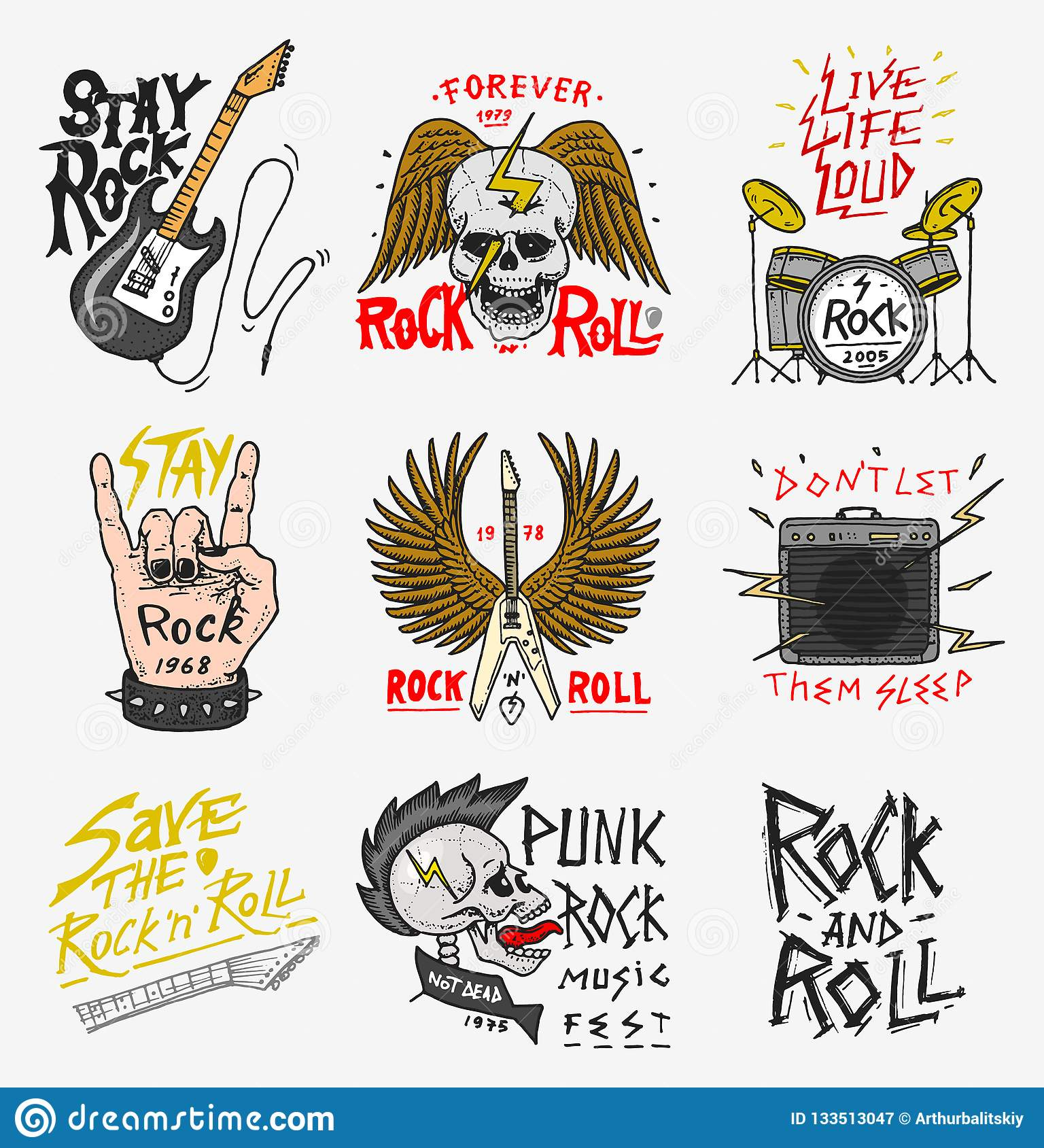a7f0b0468 Set of Rock and Roll music symbols with Guitar Wings Skull, Drums Plectrum.  labels