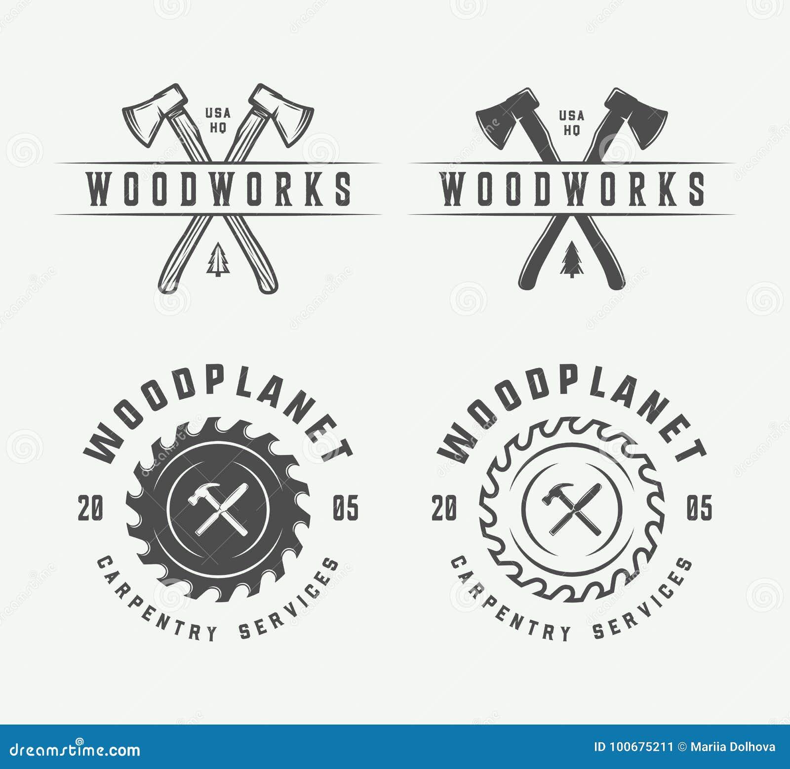 Set rocznik ciesielka, woodwork i mechanik etykietki, odznaki,
