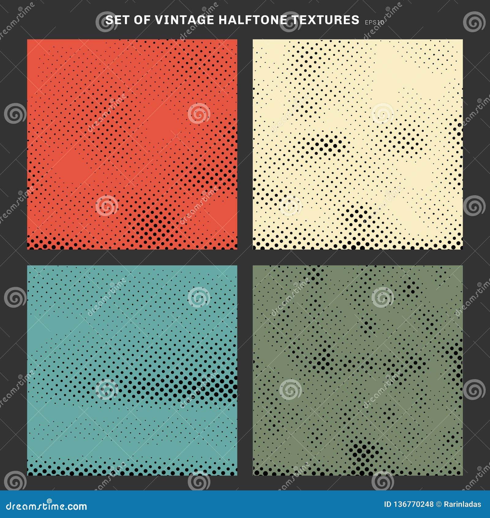 Set rocznik tekstury halftone skutek tworzył od kwadrata tła