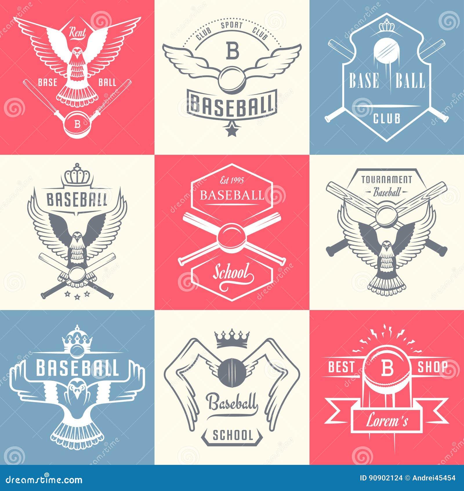 Set rocznika baseballa odznaki i etykietki