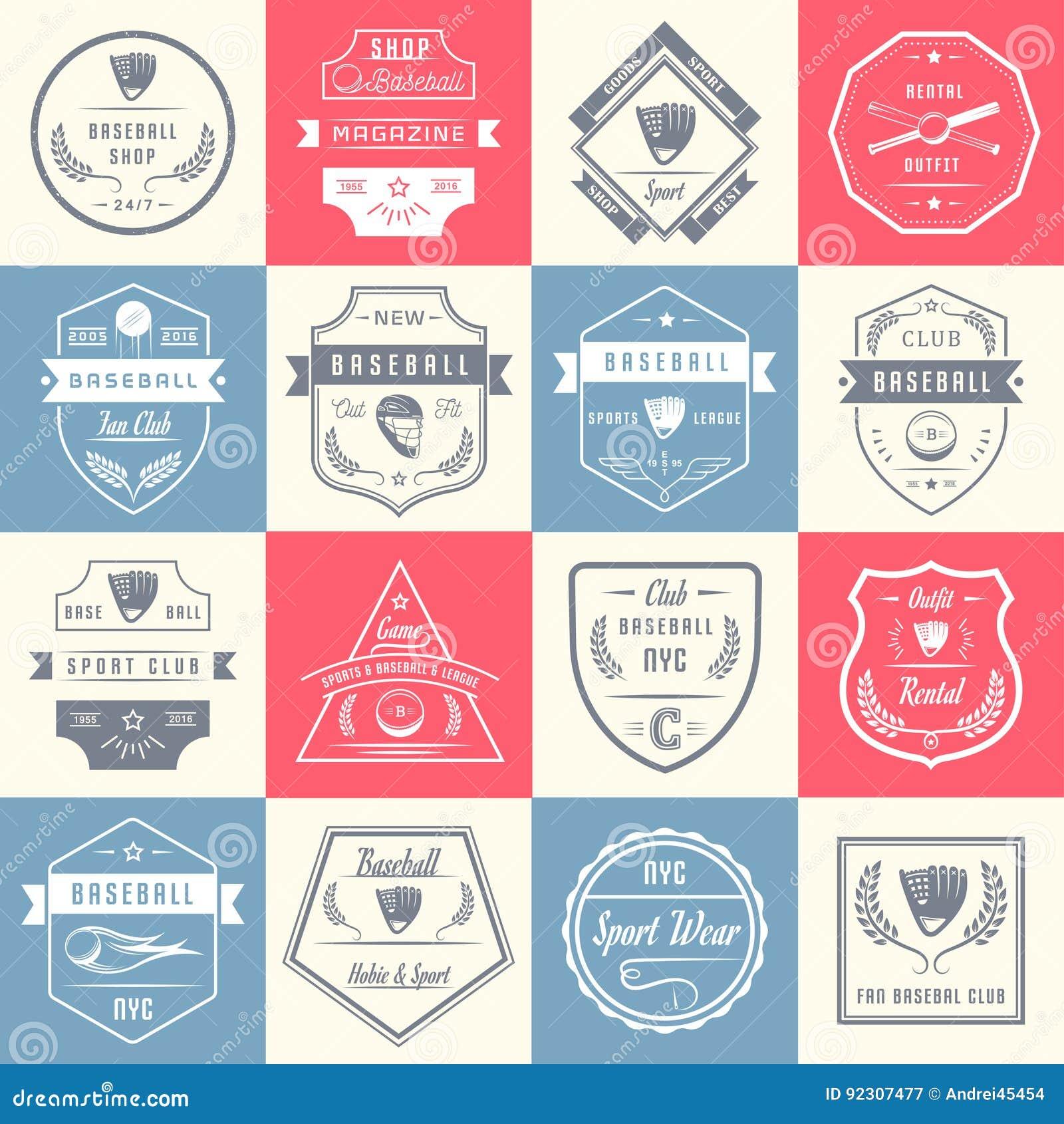 Set rocznika baseballa odznaki i logowie