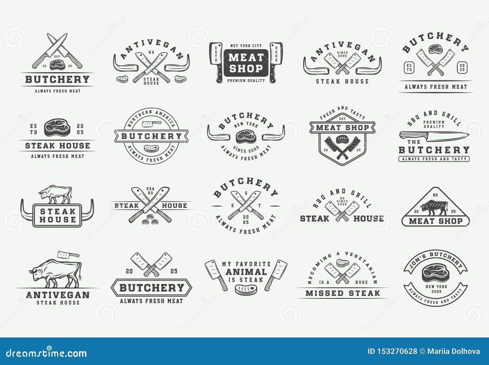 Set rocznika butchery mi?sa, stku lub bbq logowie, emblematy, odznaki, etykietki Graficzna sztuka ilustracja