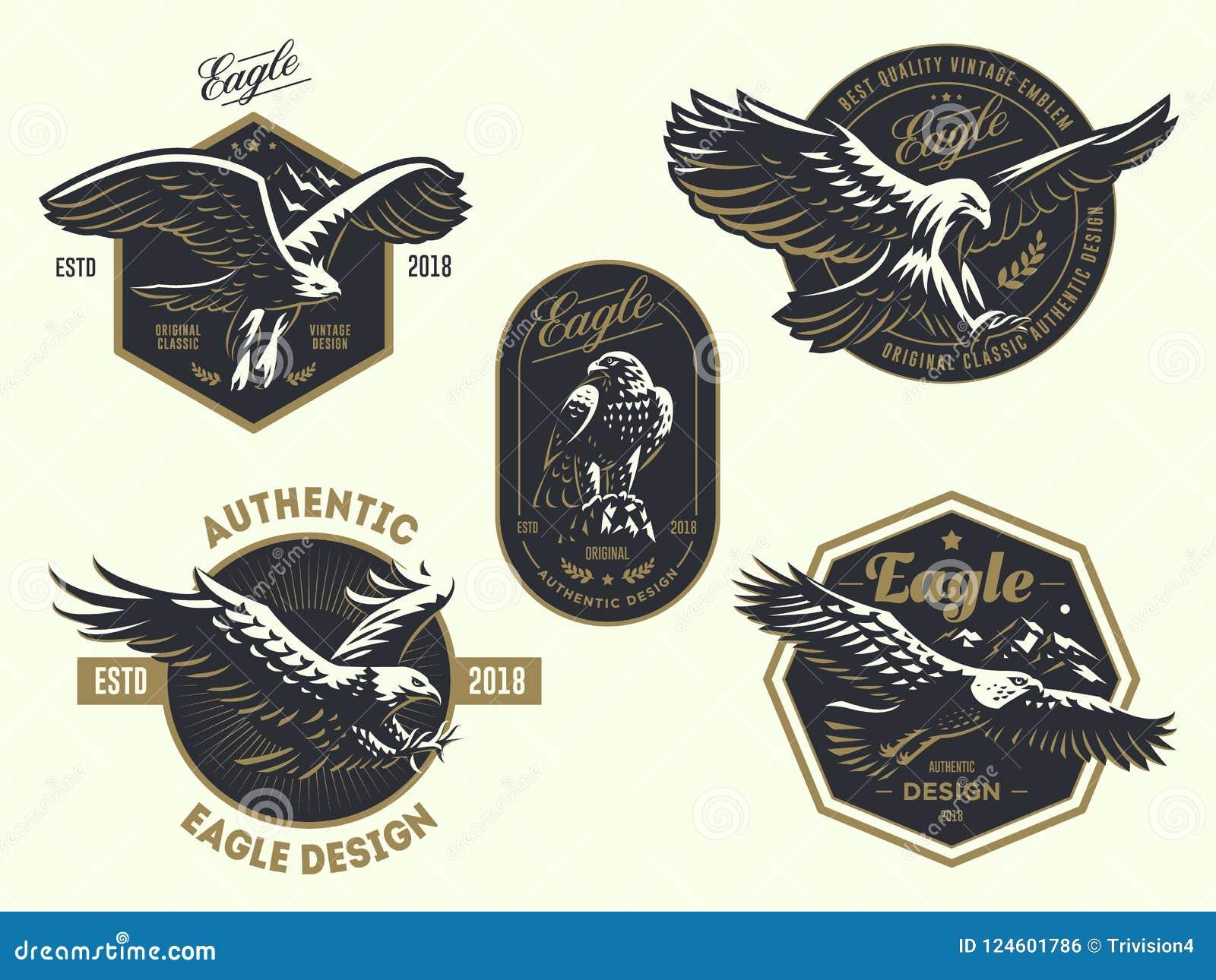 Set rocznika logo z orłem