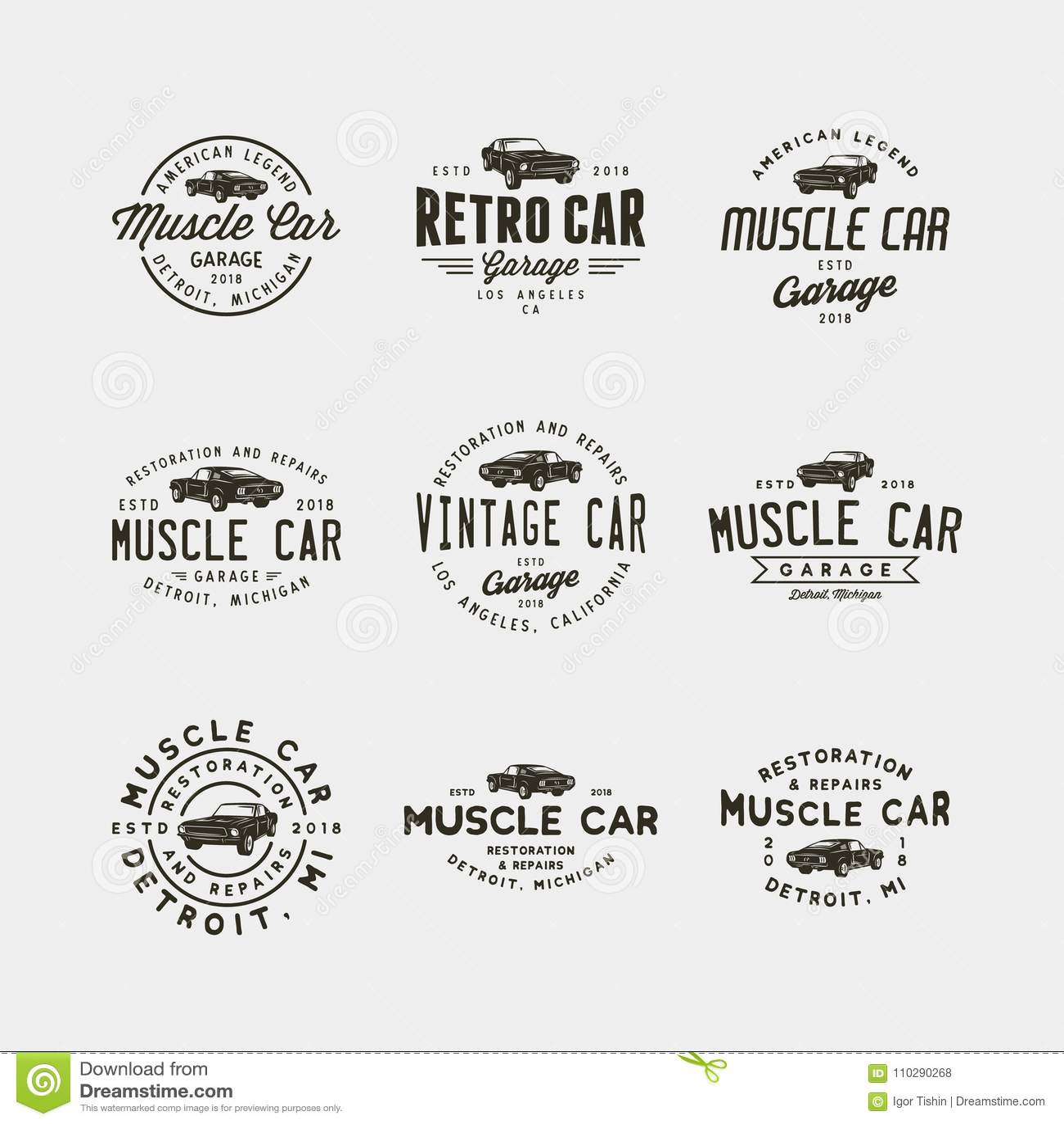 Set rocznika mięśnia garażu samochodowi logowie również zwrócić corel ilustracji wektora