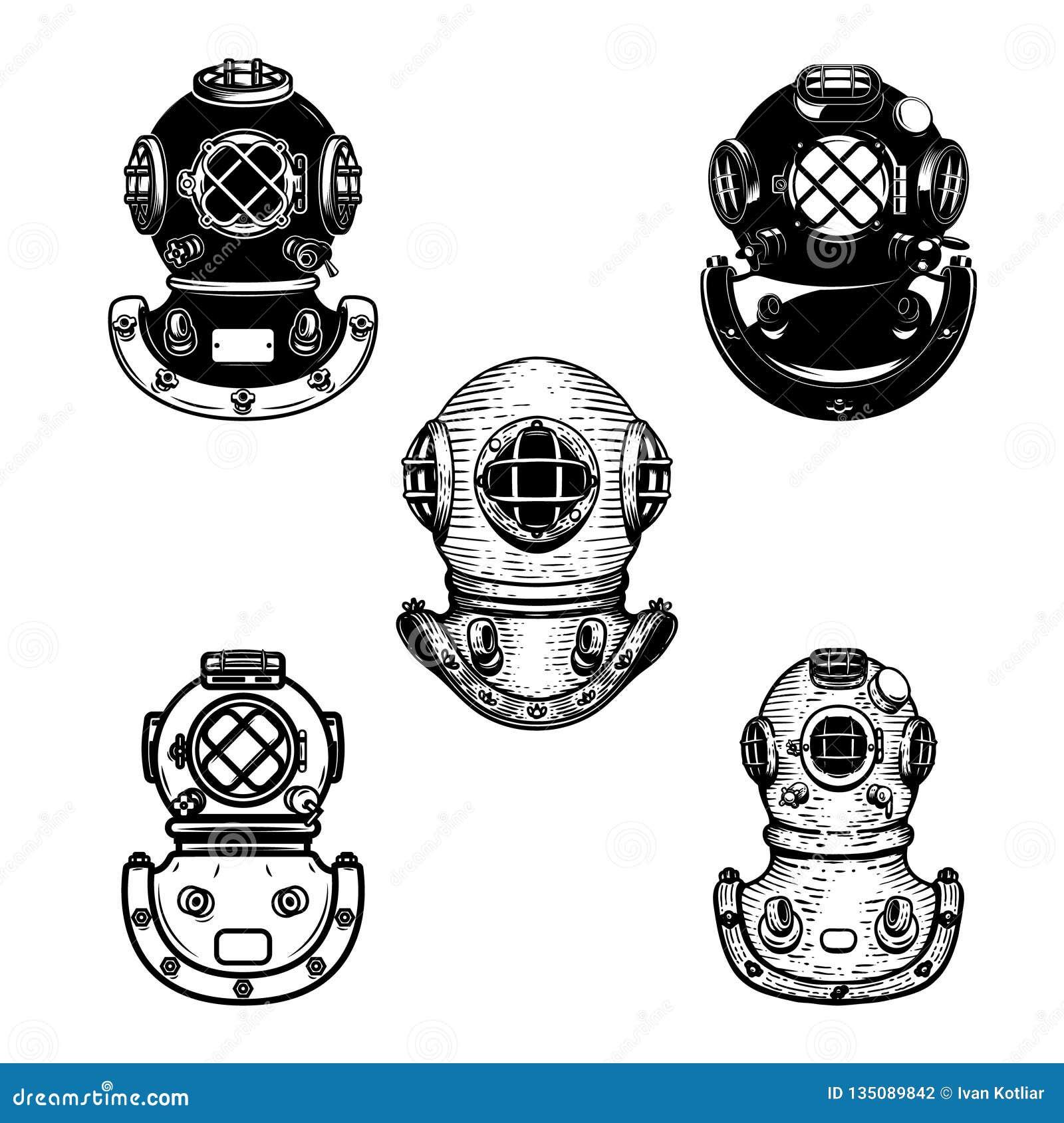 Set rocznika nurka hełmy Projektuje element dla loga, etykietka, emblemat, znak