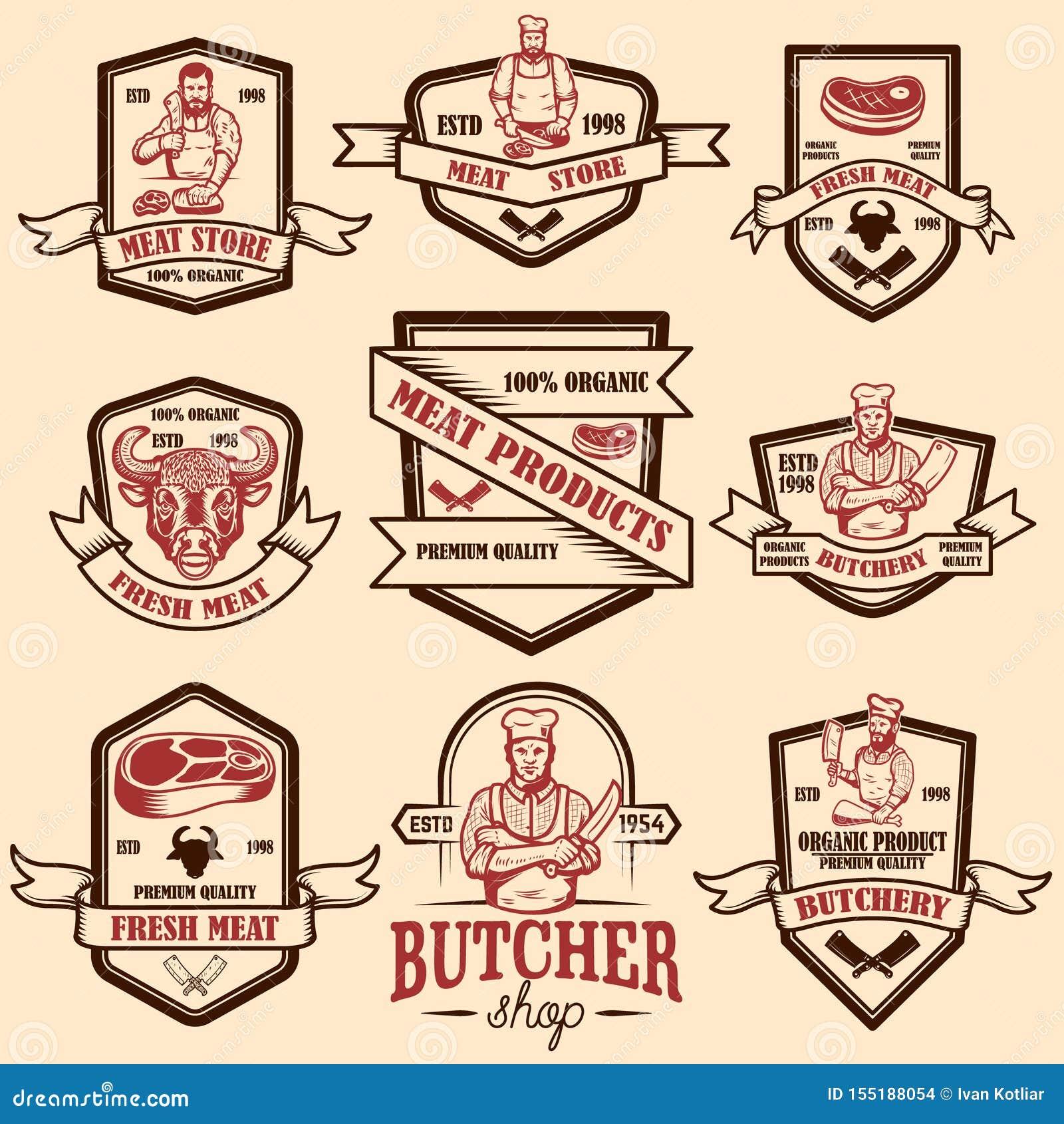 Set rocznika sklepu mięsne etykietki Projektuje element dla logo, emblemat, znak, plakat