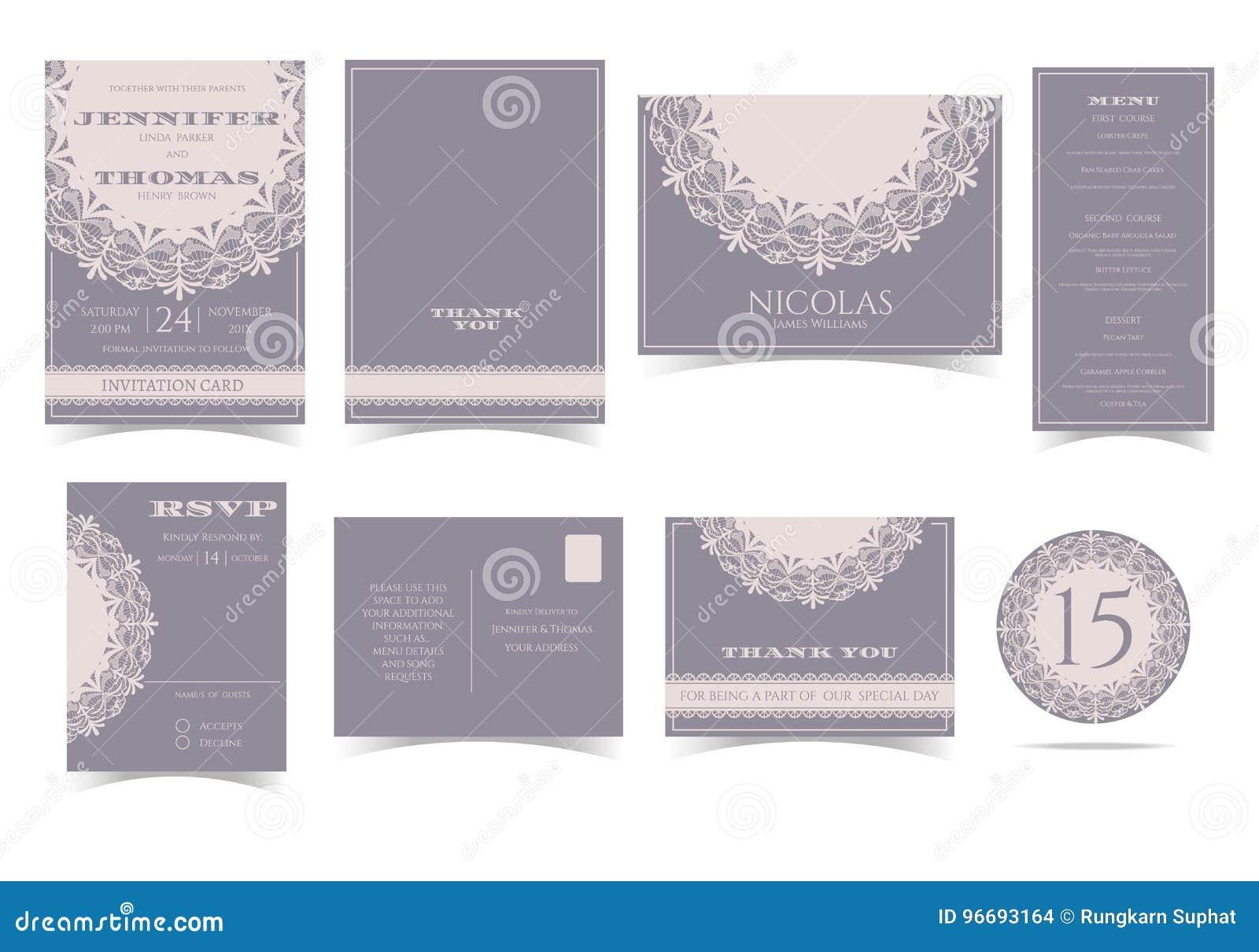 Set rocznika zaproszenia Round Koronkowa Ślubna karta