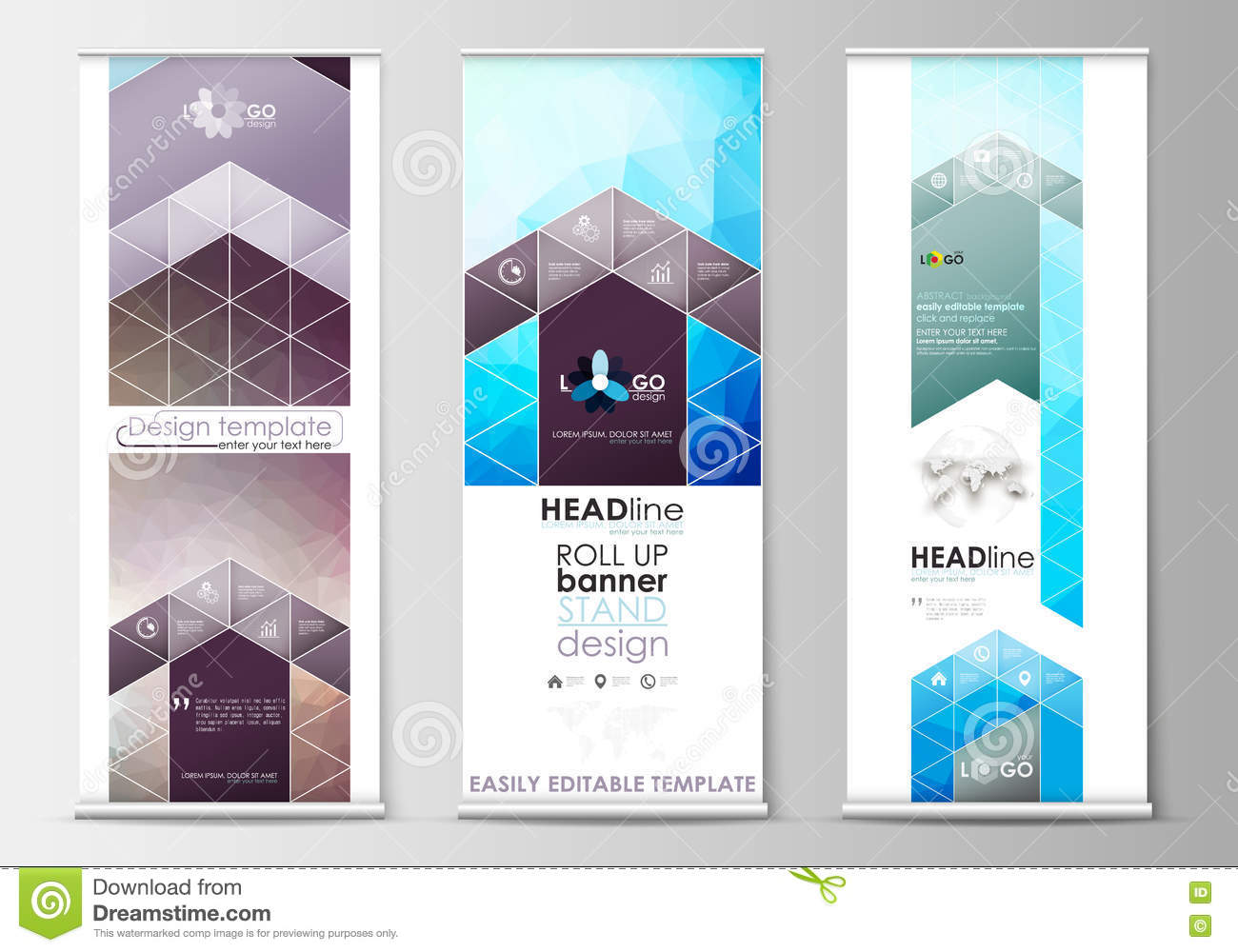 Roll Up Banner Stands, Geometric Design Templates, Business ...