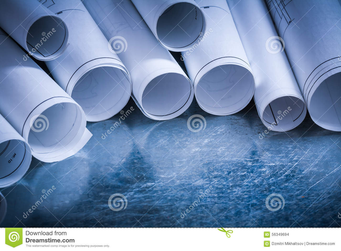 Set of rolled up white construction drawings on stock for Architectural metal concepts nj
