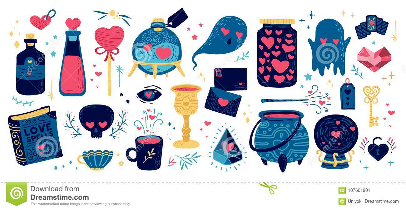 Set Romantic Element For Happy Valentines Day Illustration With