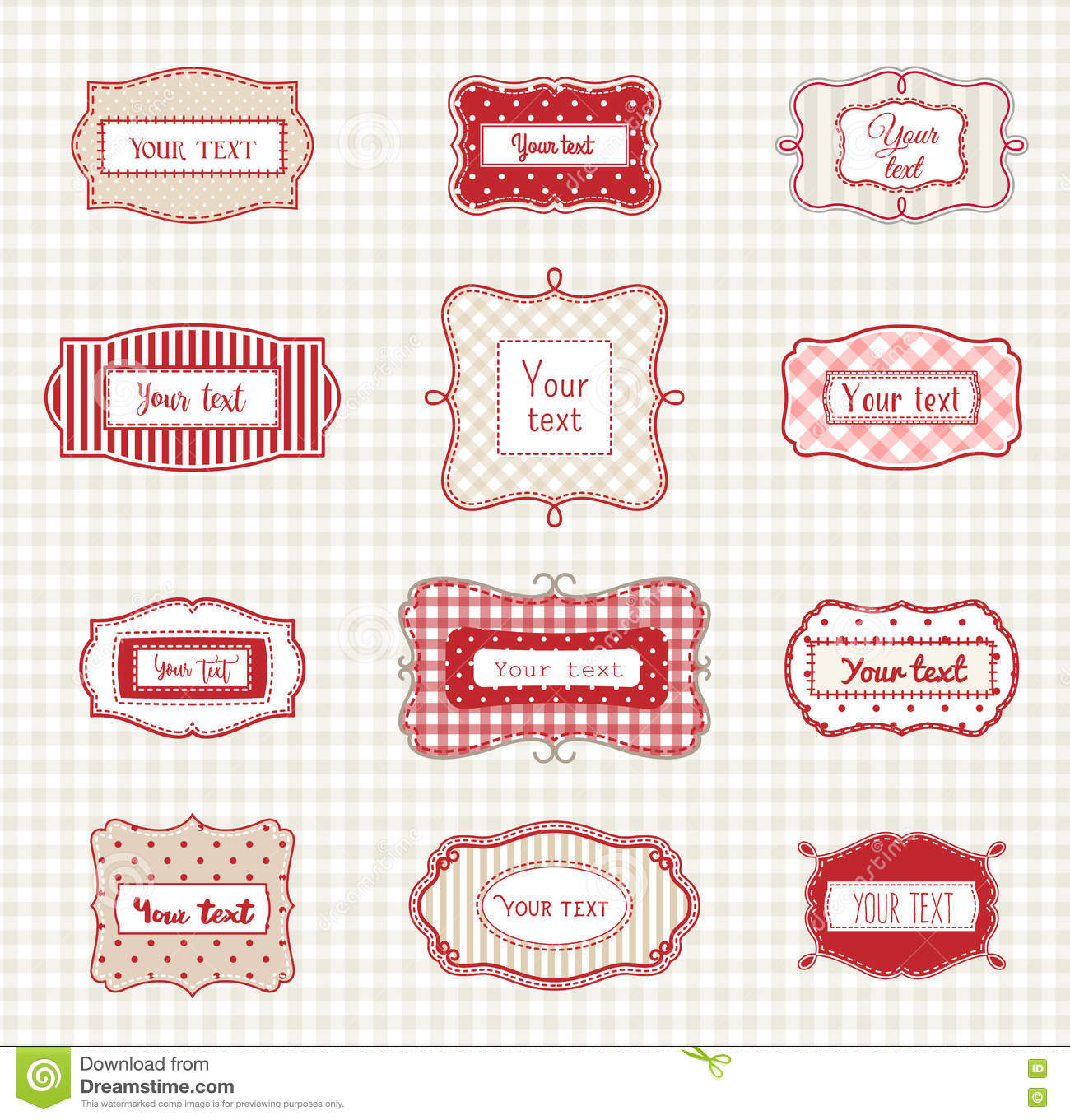 set of romantic vintage hand drawn labels templates illustration