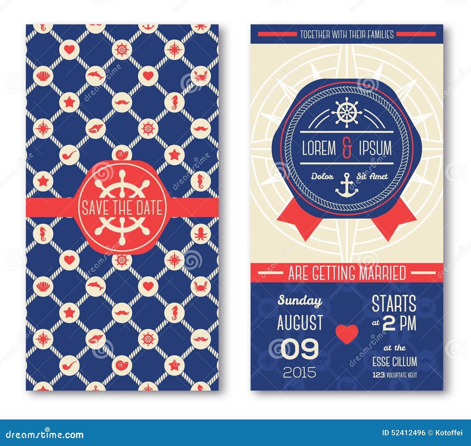 Marine Wedding Invitations: Set Of Romantic Wedding Invitations In Marine Stock Vector