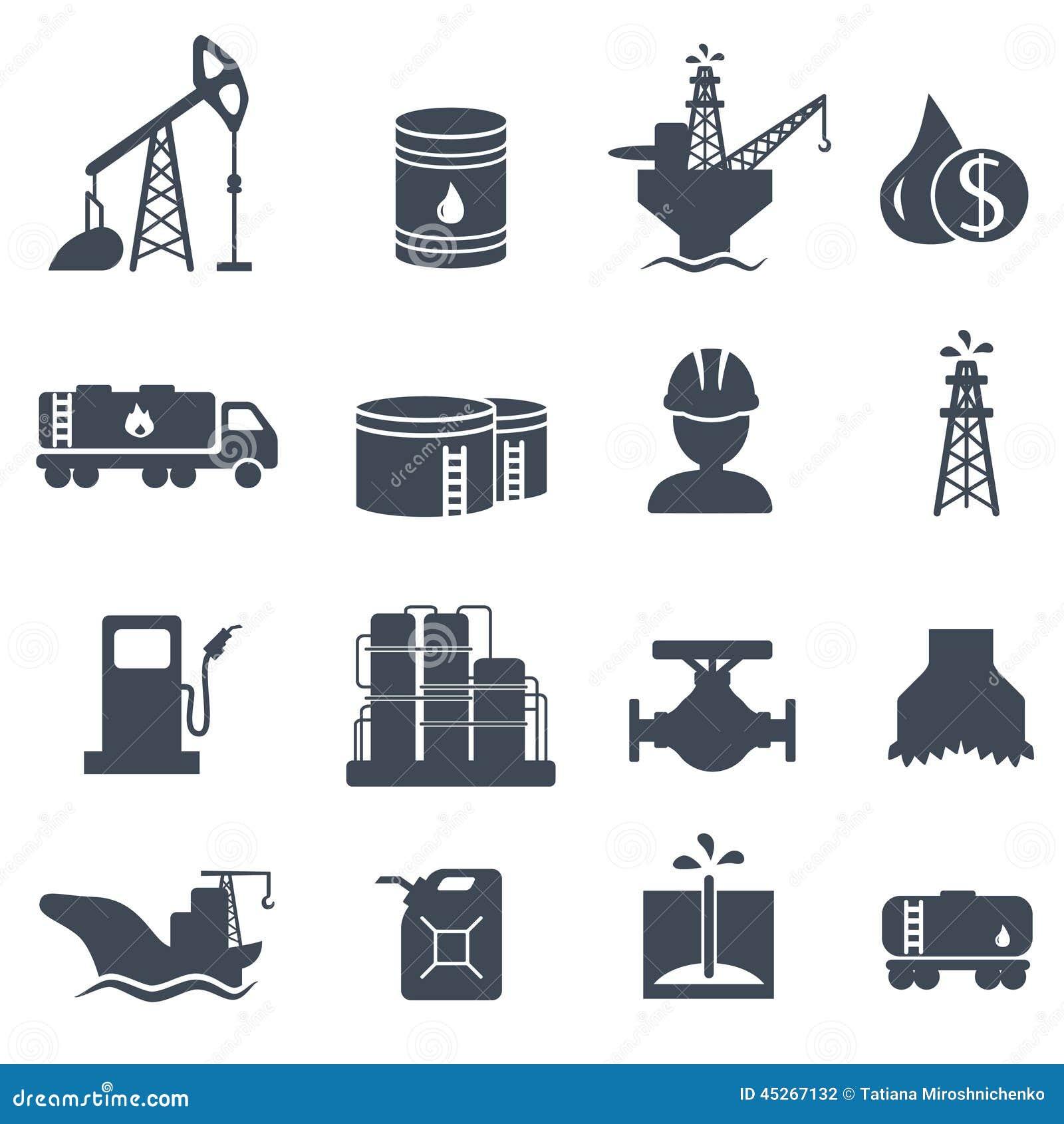 Set ropa i gaz popielaty ikona przemysł naftowy