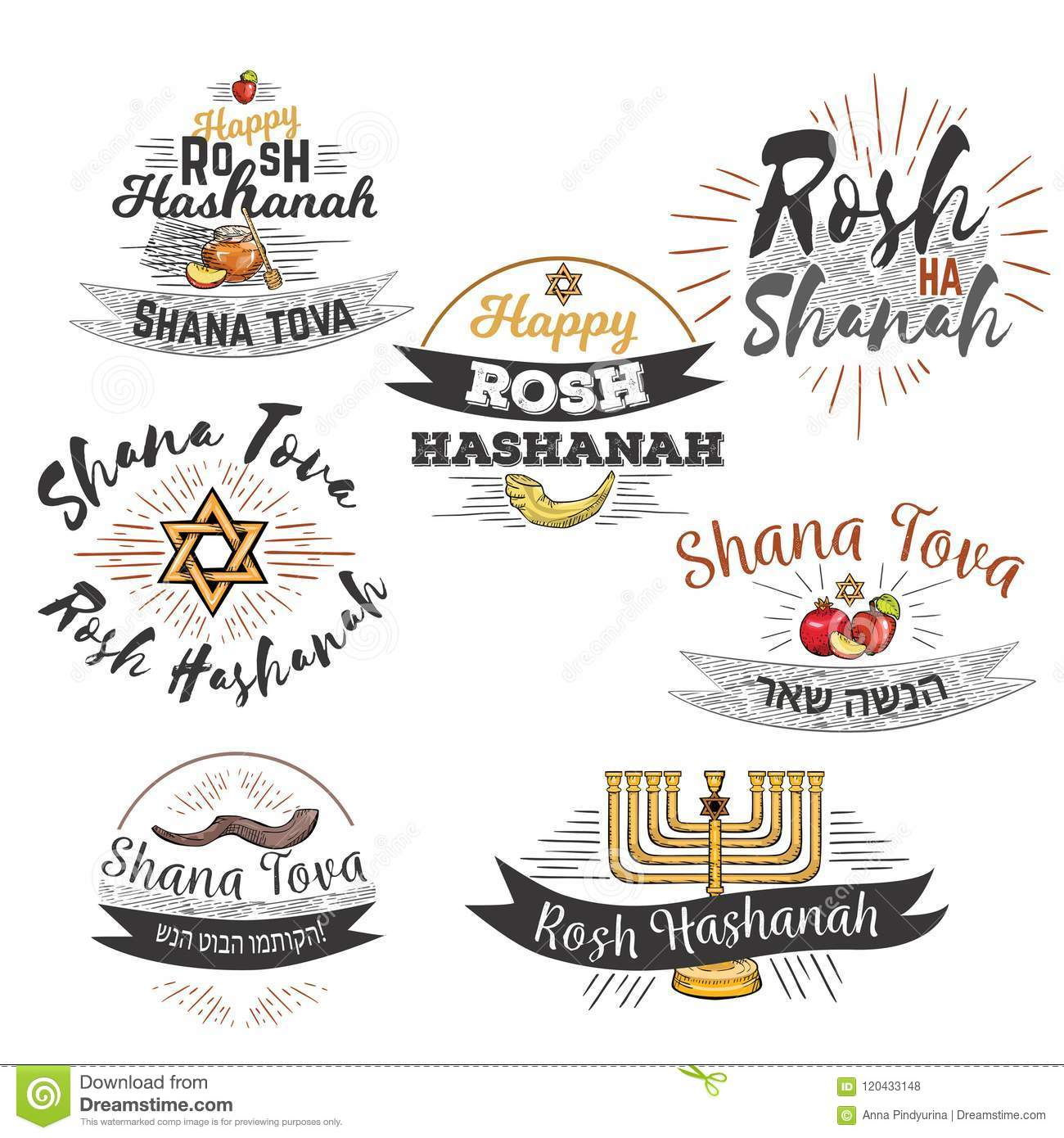 Set For Rosh Hashanah Kippur Text Lettering Means Happy Jewish New