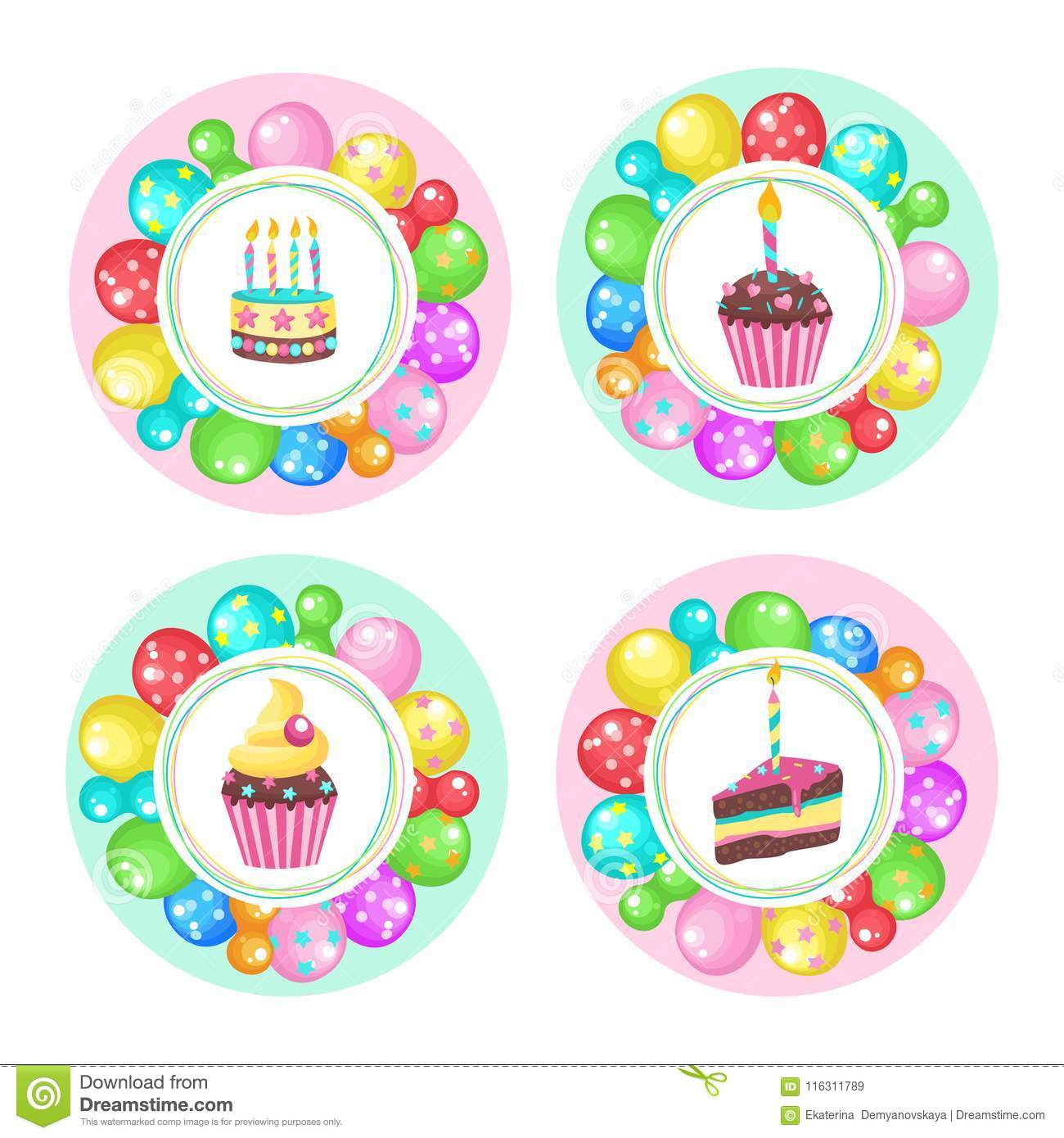 Groovy Balloons And Cakes Happy Birthday Vector Clipart Stock Vector Funny Birthday Cards Online Bapapcheapnameinfo