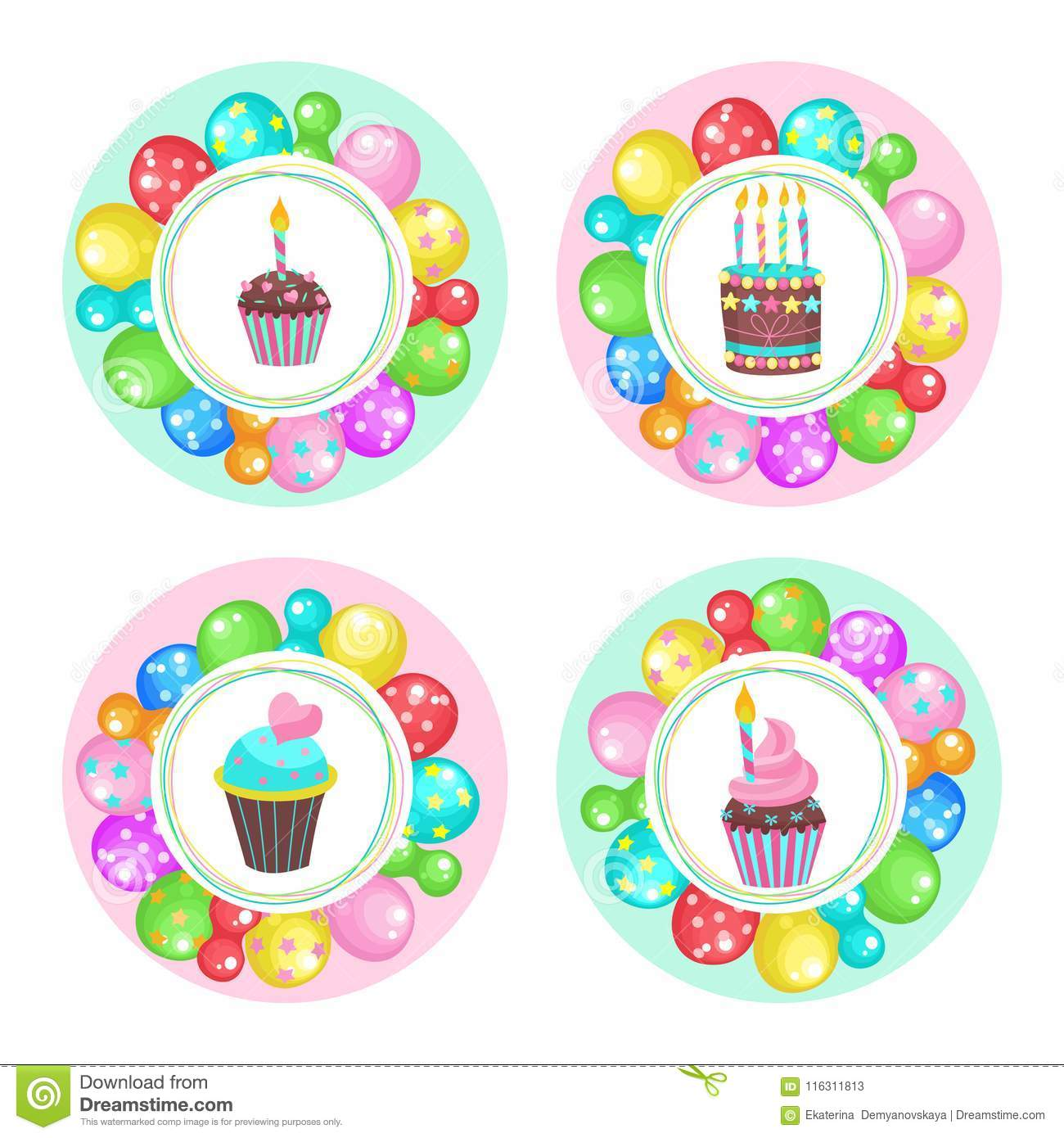 Balloons And Cakes Happy Birthday Vector Clipart