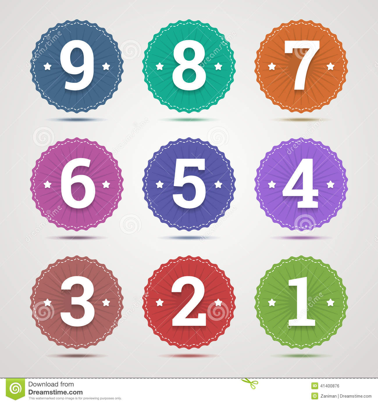 Set Of Round Emblems With Numbers Stock Vector Image