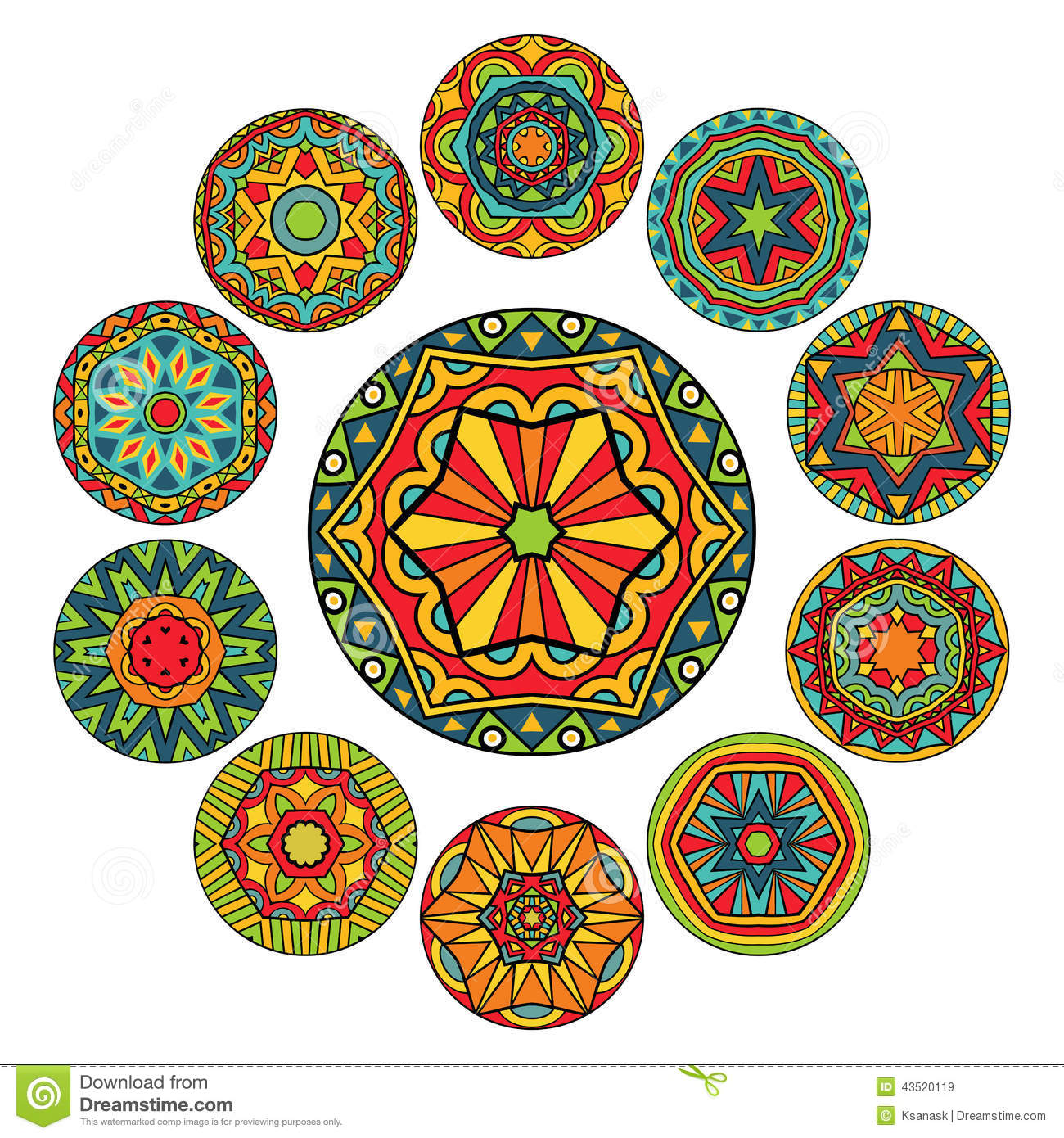 Set Of Round Ethnic Patterns Stock Vector Image 43520119